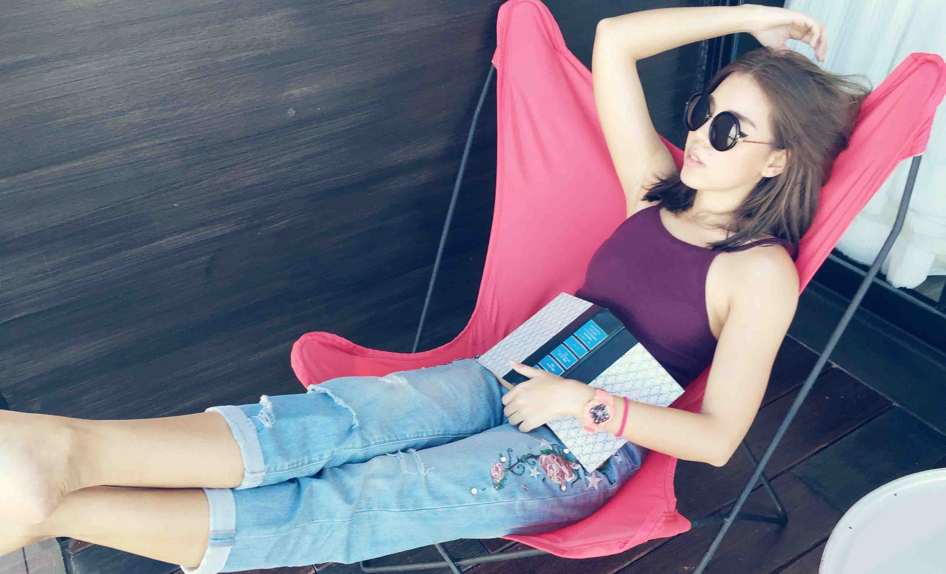 woman relax by the chair